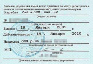 Разрешение на пневматику в России